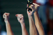 Ryan Lochte (L) and Nathan Adrian of the United States celebrate winning the gold medal in a new world record time of 3:23.05 in the Mixed 4x100m Freestyle Relay Final on day fifteen of the 16th FINA World Championships at the Kazan Arena on August 8, 2015 in Kazan, Russia.