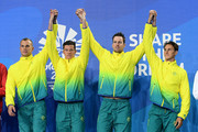 Gold medalists Cameron Mcevoy, James Magnussen, Jack Cartwright and Kyle Chalmers of Australia pose during the medal ceremony for the Men's 4 x 100m Freestyle Relay Final on day two of the Gold Coast 2018 Commonwealth Games at Optus Aquatic Centre on April 6, 2018 on the Gold Coast, Australia.