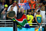 Chad le Clos's family show their support for silver medalist Chad le Clos of South Africa during the medal ceremony for the Men's 100m Freestyle Final on day four of the Gold Coast 2018 Commonwealth Games at Optus Aquatic Centre on April 8, 2018 on the Gold Coast, Australia.