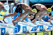 Cameron McEvoy of Australia and James Magnussen of Australia compete in the Men's 50m Freestyle Heat 7 on day five of the Gold Coast 2018 Commonwealth Games at Optus Aquatic Centre on April 9, 2018 on the Gold Coast, Australia.
