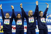 (L-R) Natalie Coughlin, Rebecca Soni, Dana Vollmer and Melissa Franklin of the United States celebrate their gold medals in the Women's 4x100m Medley Relay during Day Fifteen of the 14th FINA World Championships at the Oriental Sports Center on July 30, 2011 in Shanghai, China.