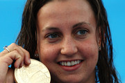 Rebecca Soni of United States receives the gold medal during the medal ceremony for the Women's 100m Breaststroke Final during the 13th FINA World Championships at the Stadio del Nuoto on July 28, 2009 in Rome, Italy.