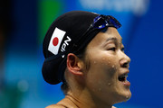 Rie Kaneto of Japan celebrates after winning gold in the Women's 200m Breaststroke Final on Day 6 of the Rio 2016 Olympic Games at the Olympic Aquatics Stadium on August 11, 2016 in Rio de Janeiro, Brazil.