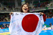 Gold medalist Rie Kaneto of Japan poses during the medal ceremony for the Women's 200m Breaststroke Final on Day 6 of the Rio 2016 Olympic Games at the Olympic Aquatics Stadium on August 11, 2016 in Rio de Janeiro, Brazil.