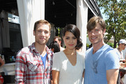 """(L-R) Actors Dustin Milligan, Alyssa Diaz and Chris Carmack attend the Swimming With Sharks Pool Party in celebration of """"Shark Night 3D"""" held at Hotel Shangri-La on August 27, 2011 in Santa Monica, California."""