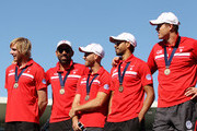 Lewis Roberts-Thomson; Adam Goodes, Jarrad Mcveigh, Lewis Jetta and Mike Pyke of the Swans stand on stage during the Sydney Swans AFL Grand Final celebrations at Sydney Cricket Ground on September 30, 2012 in Sydney, Australia.