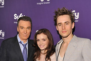 (L-R) Actors Patrick Page, Jennifer Damiano, and Reeve Carney attend the Syfy 2011 Upfront at the Foxwoods Theater on March 22, 2011 in New York City.