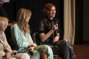 Actress Breeda Wool (R) speaks onstage during AT&T AUDIENCE Network SAG screening and panel for Mr. Mercedes Season 3 at Linwood Dunn Theater in the Pickford Center for Motion Study on September 10, 2019 in Hollywood, California.