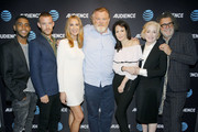 """(L-R) Actors Jharrel Jerome, Harry Treadaway, Kelly Lynch, Brendan Gleeson, Mary-Louise Parker, Holland Taylor, and director / producer Jack Bender attend the AT&T AUDIENCE Network premiere of """"Mr. Mercedes"""" during the AT&T AUDIENCE Network Summer 2017 TCA Panel at The Beverly Hilton Hotel on July 25, 2017 in Beverly Hills, California."""