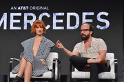 Breeda Wool and Brett Gelman attend AT&T AUIDENCE Network Presents 'Mr. Mercedes' At The Television Critics Association In Beverly Hills at The Beverly Hilton on July 23, 2019 in Los Angeles, California.