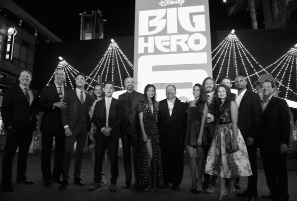 'Big Hero 6' Premieres in Hollywood [big hero 6,black,black-and-white,monochrome,monochrome photography,event,night,photography,ceremony,crowd,style,red carpet,don hall,roy conli,chris williams,actors,chief creative officer,los angeles,walt disney animation studios,premiere]