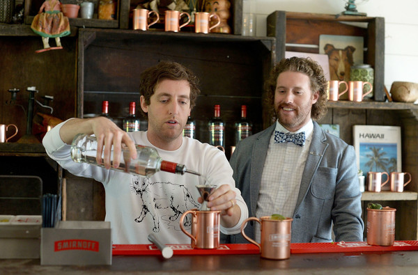 TJ Miller And Thomas Middleditch Celebrate First Official National Moscow Mule Day Created By SMIRNOFF [smirnoff moscow mules,bartender,drink,tj miller,smirnoff,thomas middleditch,t.j.,toast,fairmont miramar hotel,santa monica,l,thomas middleditch celebrate first official national moscow mule day]