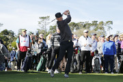 Actor Josh Duhamel plays his shot from the first tee during the 3M Celebrity Challenge prior to the AT&T Pebble Beach Pro-Am at Pebble Beach Golf Links on February 05, 2020 in Pebble Beach, California.