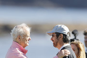 Actor Bill Murray shakes hands with actor Ray Romano after the 3M Celebrity Challenge prior to the AT&T Pebble Beach Pro-Am at Pebble Beach Golf Links on February 05, 2020 in Pebble Beach, California.