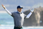 Jordan Spieth of the United States reacts on the 18th tee during the third round of the AT&T Pebble Beach Pro-Am at Pebble Beach Golf Links on February 09, 2019 in Pebble Beach, California.