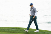 Jordan Spieth of the United States prepares to putt on the eighth green during the third round of the AT&T Pebble Beach Pro-Am at Pebble Beach Golf Links on February 09, 2019 in Pebble Beach, California.