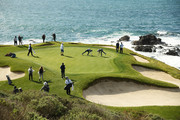 A general view of the seventh green as Jordan Spieth of the United States, Dustin Johnson of the United States, Wayne Gretzky and Jake Owen prepare to putt during the third round of the AT&T Pebble Beach Pro-Am at Pebble Beach Golf Links on February 09, 2019 in Pebble Beach, California.