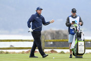 Phil Mickelson of the United States prepares to play from the 18th tee during the third round of the AT&T Pebble Beach Pro-Am at Pebble Beach Golf Links on February 09, 2019 in Pebble Beach, California.