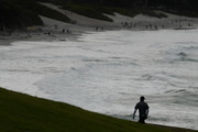 Jordan Spieth of the United States walks on the ninth hole during the third round of the AT&T Pebble Beach Pro-Am at Pebble Beach Golf Links on February 09, 2019 in Pebble Beach, California.