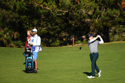 Jordan Spieth of the United States plays a shot on the sixth hole during the third round of the AT&T Pebble Beach Pro-Am at Pebble Beach Golf Links on February 09, 2019 in Pebble Beach, California.