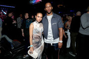 Karrueche Tran and Victor Cruz attend AT&T TV Super Saturday Night at Meridian at Island Gardens on February 01, 2020 in Miami, Florida.