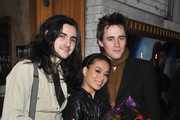 """Zane Carney, actress T. V. Carpio and actor Reeve Carney attend a photocall following a performance of """"Spider-Man Turn Off The Dark"""" at the Foxwoods Theatre on January 4, 2011 in New York City."""