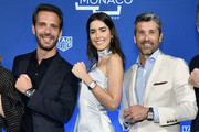 Jean-Eric Vergne, Paulina Vega and Patrick Dempsey pose on stage during a TAG Heuer celebration of  50 years of the iconic Monaco Timepiece with brand ambassador Patrick Dempsey on July 10, 2019 in New York City.