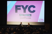 "Actress Molly Ringwald (L) interviews political commentator Samantha Bee at TBS' ""Full Frontal With Samantha Bee"" FYC Event at the Writers Guild Theater on May 24, 2018 in Beverly Hills, California."