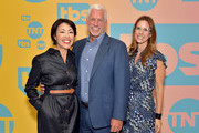 (L-R) Ann Curry, EVP of Global Communications at WarnerMedia Entertainment Kevin Brockman and EVP of Original Non-Fiction and Kids Programming at WarnerMedia Jennifer O'Connell pose in the green room during the TBS + TNT Summer TCA 2019 at The Beverly Hilton Hotel on July 24, 2019 in Beverly Hills, California. 596650