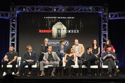 (Top L-R) Actors Jane Lynch, Mark Duplass, Jeremy Bobb, Elizabeth Reaser and Lynn Collins (Bottom L-R) Actors Sam Worthington, Paul Bettany, Chris Noth, Keisha Castle-Hughes, Showrunner/executive producer/director Greg Yaitanes and Executive producer/writer Andrew Sodroski at the 'Manhunt: Unabomber' panel for the 'Discovery Channel - Discovery' portion of the TCA Summer Event 2017 at The Beverly Hilton Hotel on July 26, 2017 in Beverly Hills, California.