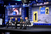 (L-R) Joey Jackson, Nancy Duffy, Donnie Wahlberg, B.D. Wong, and Hill Harper speak onstage during the HLN portion of the TCA Turner Winter Press Tour 2019 Presentation at The Langham Huntington Hotel and Spa on February 11, 2019 in Pasadena, California. 510169