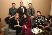 (L-R, Back Row) Actors Zach Gilford, Josh Feldman, Colt Prattes, (l-r, front row) Cheryl Hines, Shoshannah Stern and director/executive producer Andrew Ahn of the television show This Close pose for a photo in the green room during the AMC portion of the 2018 Winter Television Critics Association Press Tour on January 13, 2018 in Pasadena, California.