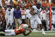 Shawn Robinson #3 of the TCU Horned Frogs escapes a tackle by Caden Sterns #7 of the Texas Longhorns in the second quarter at Darrell K Royal-Texas Memorial Stadium on September 22, 2018 in Austin, Texas.