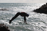 USA Olympic swimmer Rebecca Soni participates in coasteering during a photo shoot at St.Davids  on September 17, 2011 in St Davids, Wales.