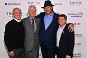 (L-R) Dr. David Agus, Former U.S. President Bill Clinton, Marc Benioff and Edward Felsenthal pose backstage during the TIME 100 Health Summit at Pier 17 on October 17, 2019 in New York City.