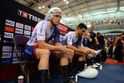 Steven Burke of Great Britain before he competes in the Mens Final Pursuit  during the TISSOT UCI Track Cycling World Cup at National Cycling Centre at National Cycling Centre on November 11, 2017 in Manchester, England.
