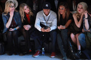 (L-R) Ali Wise, Nicky Hilton, Russell Simmons, Angela Simmons, Sky Ferreira and Nick Ackerman attend the Charlotte Ronson Fall 2012 fashion show for TRESemme during Mercedes-Benz Fashion Week  at Lincoln Center on February 10, 2012 in New York City.