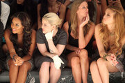 Angela Simmons, Kelly Osbourne, designer Nicky Hilton and Whitney Port attend the Charlotte Ronson Spring 2012 fashion show during Mercedes-Benz Fashion Week at The Stage at Lincoln Center on September 10, 2011 in New York City.