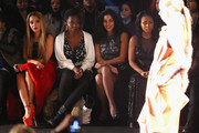 (L-R) Actors Angela Simmons, Adepero Oduye, Sarita Choudhury, and Tashiana Washington attend the Vivienne Tam fashion show with TRESemme during Mercedes-Benz Fashion Week Fall 2014 at The Theater at Lincoln Center on February 9, 2014 in New York City.