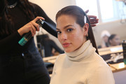 Ashley Graham prepares backstage for TRESemme at Christian Siriano for NYFW on February 9, 2019 in New York City.