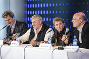 Rufus Beck, Peter Maffay, Heinz Hoenig and Michael van Almsick attend a press conference for the show 'Tabaluga - Es lebe die Freundschaft' at Mercedes Benz Arena on April 26, 2016 in Berlin, Germany.