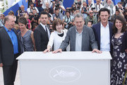 """(Right to Left) Moira Buffini, actor Luke Evans,Director Stephen Frears, Posy Simmonds,  Dominic Cooper, Tamsin Greig, Bill Camp attend the """"Tamara Drew"""" Photocall at the Palais des Festivals during the 63rd Annual Cannes Film Festival on May 18, 2010 in Cannes, France."""
