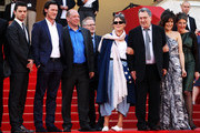 """(Left to Right) Dominic Cooper, Luke Evans, Bill Camp, Anne Rothenstein, Director Stephen Frears, Lola Frears and Tamsin Greig attend the """"Tamara Drewe"""" Premiere at Palais des Festivals during the 63rd Annual Cannes Film Festival on May 18, 2010 in Cannes, France."""