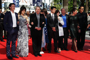 """Dominic Cooper, Luke Evans, Bill Camp, Guest and Director Stephen Frears, Guest and Tamsin Greig attend the """"Tamara Drewe"""" Premiere at Palais des Festivals during the 63rd Annual Cannes Film Festival on May 18, 2010 in Cannes, France."""