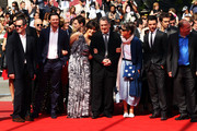 """(Left to Right) Luke Evans, Lola Frears, Director Stephen Frears, Anne Rothenstein, Dominic Cooper and Bill Camp attend the """"Tamara Drewe"""" Premiere at Palais des Festivals during the 63rd Annual Cannes Film Festival on May 18, 2010 in Cannes, France."""