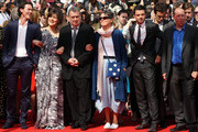 """Luke Evans, Guest,  Director Stephen Frears, Guest, Dominic Cooper and  Bill Camp attend the """"Tamara Drewe"""" Premiere at Palais des Festivals during the 63rd Annual Cannes Film Festival on May 18, 2010 in Cannes, France."""