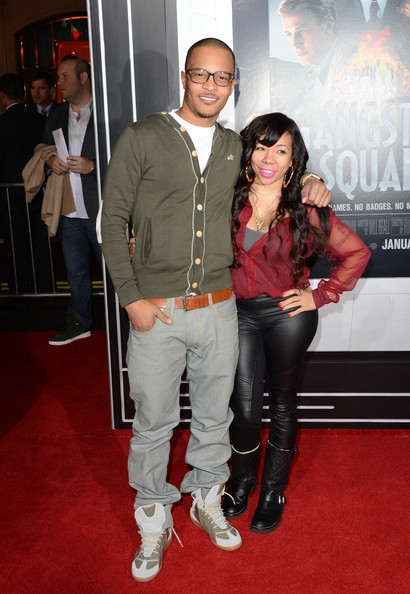 Tameka Cottle Rapper T.I. and Tiny arrive at Warner Bros. Pictures