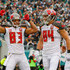 Vincent Jackson Cameron Brate Photos - Vincent Jackson #83 of the Tampa Bay Buccaneers celebrates his touchdown catch in the second quarter with teammates Cameron Brate #84 and Joe Hawley against the Philadelphia Eagles at Lincoln Financial Field on November 22, 2015 in Philadelphia, Pennsylvania. - Tampa Bay Buccaneers v Philadelphia Eagles