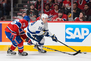 Ondrej Palat #18 of the Tampa Bay Lightning tries to move the puck past P.K. Subban #76 of the Montreal Canadiens in Game Five of the Eastern Conference Semifinals during the 2015 NHL Stanley Cup Playoffs at the Bell Centre on May 9, 2015 in Montreal, Quebec, Canada.