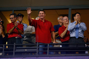 Former Cleveland Indians Jim Thome waves to the crowd prior to the American League Wild Card game against the Tampa Bay Rays at Progressive Field on October 2, 2013 in Cleveland, Ohio.